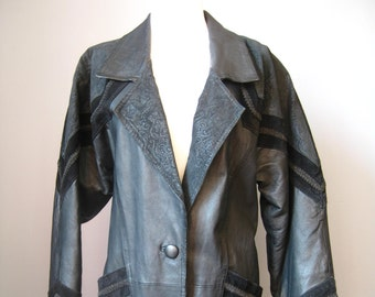 Full Length Black Leather Coat / Vtg 80s 90s / Comint Embellished Suede and Leather Coat / Size Small / Black Leather Coat