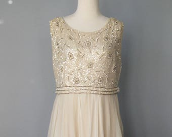 Silk Chiffon Cowl Back Cocktail Dress / Vtg 50s / Cream and Silver Gown