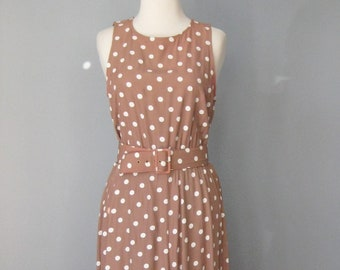 Pretty Woman Dress / Vtg 70s 80s / AS IS Brown and White polka dot belted dress