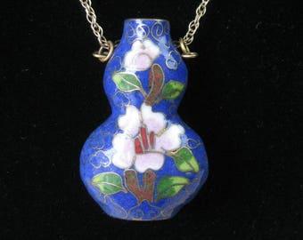 Cloisonne Flask Necklace / vtg / Blue Cloissone Flask on 14Kt gold chain / Love potion Flask