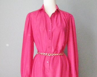 Fuchsia Shirt Dress / Vtg 70s / Schrader Sport Hot Pink Tunic Dress / Buttondown Dress
