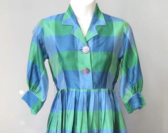 Girls Silk Dress / Vtg 60s / Jodeen Originals Blue and Green Plaid Silk Dress