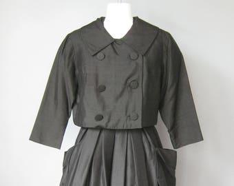 Black Cocktail Dress / Vtg 50s / Raffaele LBD Black Dress and Jacket