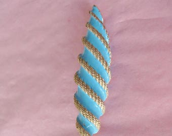 Egyptian Revival Brooch / Vtg 60s / Frond Brooch  / Blue and Gold enamel pin