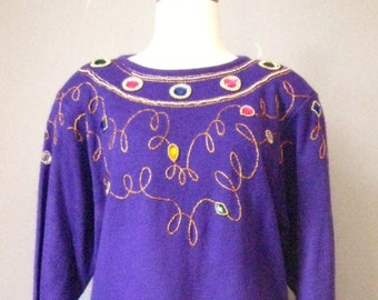 "Jeweled Purple Dress / Vtg 90s / "" Darian "" Sweater Dress with large jewels / Size L Purple Sweater Dress"
