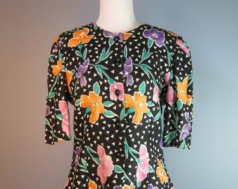 Linen Blouse or Jacket / Vtg 80s / Terri Jon Saks Fifth Avenue Floral Linen Jacket with Peplum