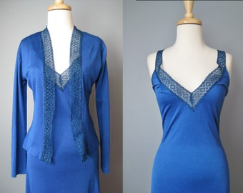 Royal Blue Prom Dress / Vtg 70s / Seventies Soul Now Generation Royal Blue Prom Dress / Gown with jacket