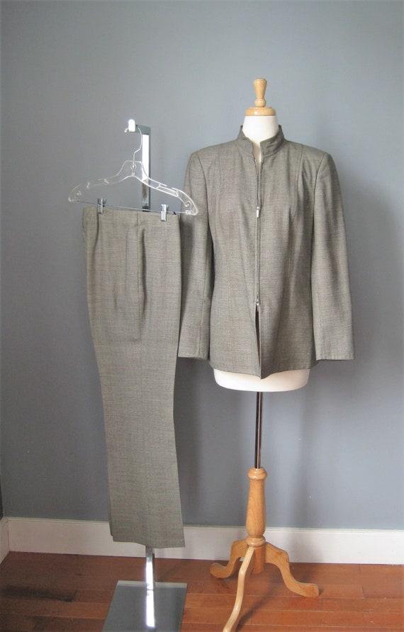 Akris Suit / Vtg 90s  / Gray Wool Pant Suit / Powe