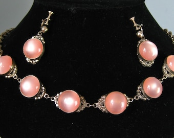 Moonglow Set / Vtg 50s / Collectible Pink Moonglow Necklace and Screwback Earrings / ornate silver settings