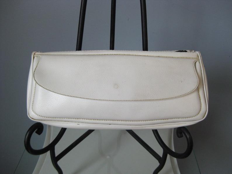 White Vinyl Case  Vtg  Three compartment Pencil case makeup case clutch wallet