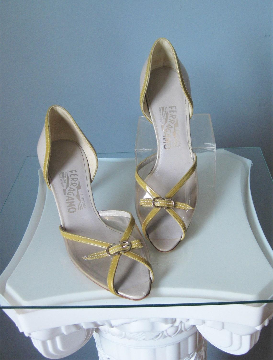 Ferragamo Peeptoes / Vtg / Classic D'Orsay Style Ferragamo Clear Dove Leather / Size 6.5