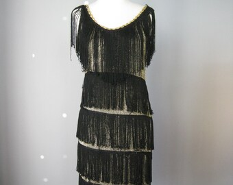 Flapper Dress  / Vtg 70s 80s / Black and Gold Fringed Fapper style dress