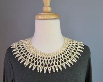 Faux Pearl Collar Necklace  / Vtg 50s / Pearl Collar Choker /