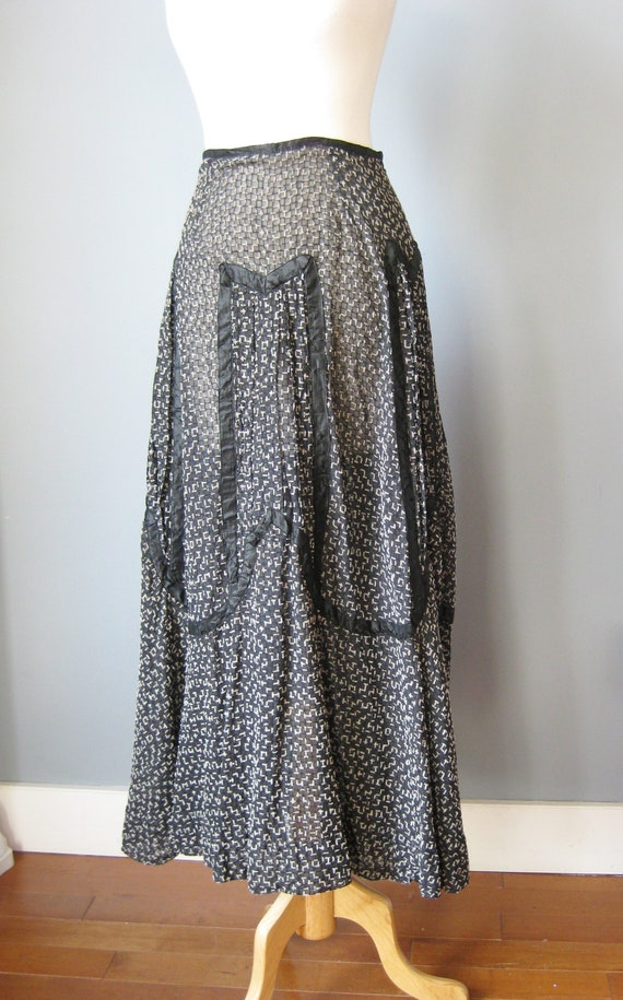 Antique Skirt / Vtg early / Black and White Sheer