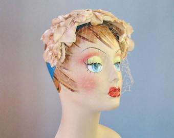 Floral Headband / Vtg 50s / Blush Pink Floral Headband