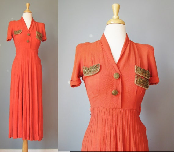 Orange Short Sleeve Dress / Vtg 30s 40s / Rust Ora
