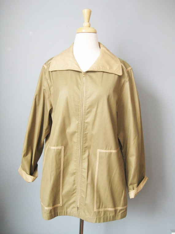 Bonnie Cashin Jacket / Vtg 70s / Beige Zip Front S