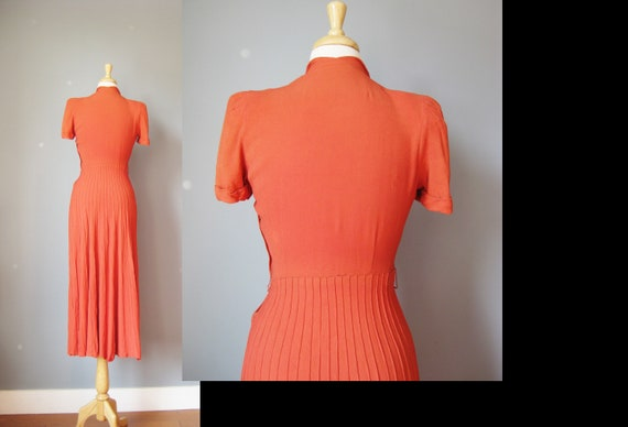 Orange Short Sleeve Dress / Vtg 30s 40s / Rust Or… - image 8