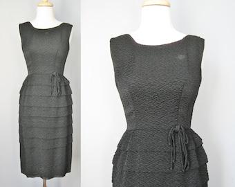 Little Black Dress / Vtg 50s / Tiered Sleeveless Cocktail Dress