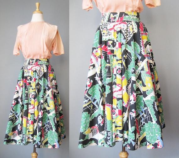 Cotton Circle Skirt / Vtg 40s / Novelty Print Full