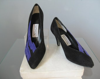 Colorblock Suede shoes / Vtg 80s / Jasmin Black and PURPLE (not blue) colorblock shoes