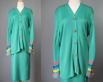 Green 2 Piece Knit Dress / Vtg 80s 90s / Ami Knits Colorful Kelly Green Cardigan and Skirt 2 piece Knit dress