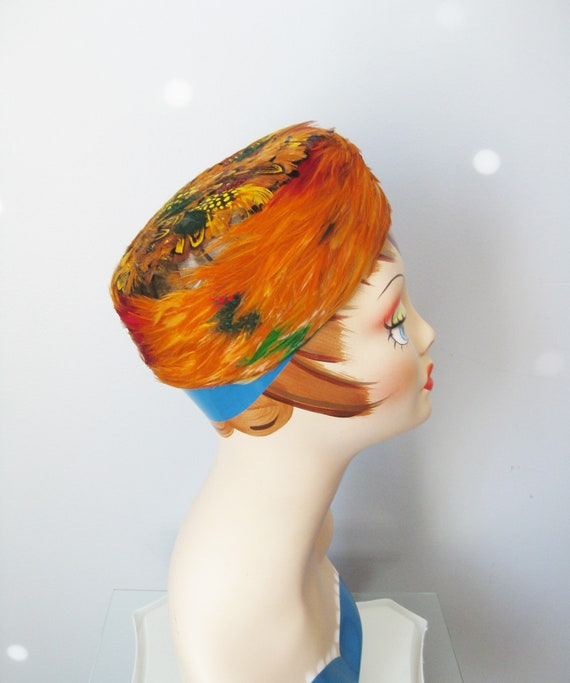 Feather Pillbox  / Vtg 50s / Flame Colore Pheasant