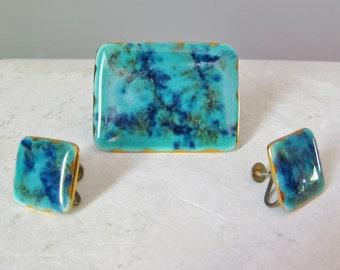 Blue enamel pin and earrings / Vtg / Square screwback earrings / Rectangular enamel pin