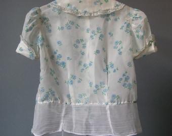 Girls Sheer Blouse / Vtg 60s / Floral Print Buttons in Back Girls Sheer Blouse / Blue Floral Blouse