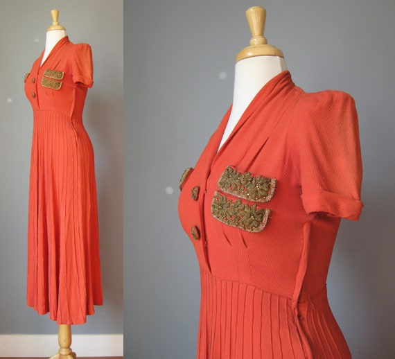 Orange Short Sleeve Dress / Vtg 30s 40s / Rust Or… - image 5