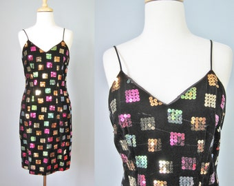 Sequined Slip Dress / Vtg 90s / Black Velvet Sequined Slip Dress