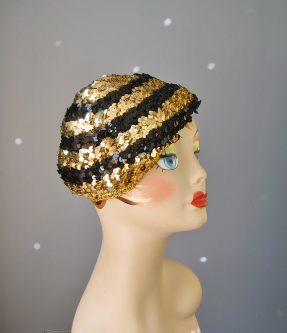 Sequined Beanie   Vtg 90s   Gold and Black Sequined Beanie    b4507e75f02