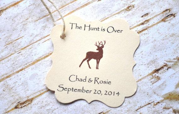 The Hunt Is Over Favor Tags Wedding Favors Deer Favor Tags Etsy