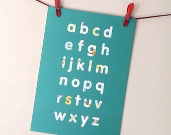 ABC print – 2 colourways available – alphabet illustrated art print, kids room art, nursery art