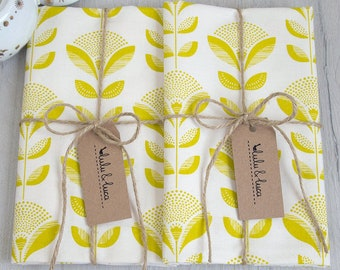 Set of 2 print kitchen towels screen-printed Dandelion in Grey or Lime