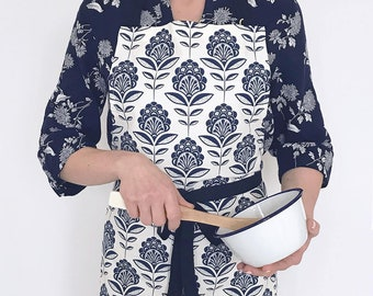 Apron with peacock flower print - screen-printed cotton chef apron