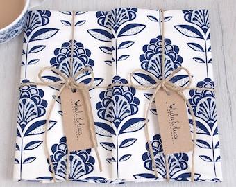 Peacock flower tea towels - set of 2 screen-printed tea towels colour navy or teal
