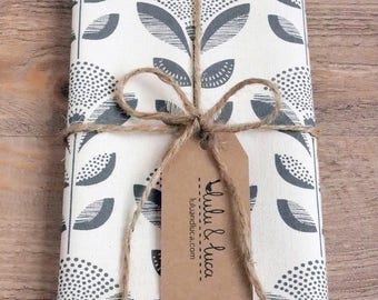 Screen printed tea towel/ dish towel with Dandelion design (grey/lime)