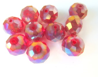 Cherry Red Faceted Vintage Glass Beads