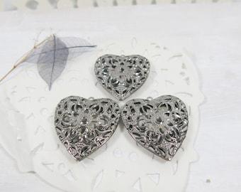 Gunmetal Silver-Toned Heart - Aromatherapy Heart - Heart filigree - Dark Silver-tone Heart - Diffuser Pendants - JSP -157