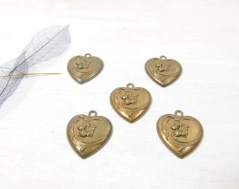 Chocolate Ox Heart - Heart Charm - Heart Pendant - Chocolate OX Finished Charm - Sweetheart Charm - Valentine Pendant  - JSP-158