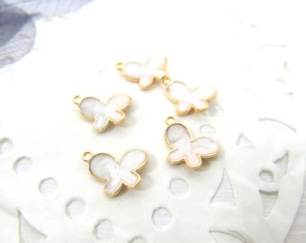 Butterfly White Enamel Charm - Butterfly charm - Butterfly Style Charm - White Abstract Shell-like Enamel Butterfly Charm - SP - 150