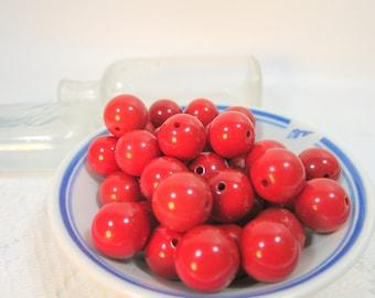 Cherry Red Gum Ball Beads, Chunky Acrylic Beads, 20mm Chunky Beads, 20mm Beads, 20mm Red Gumball Beads, 2MM Hole