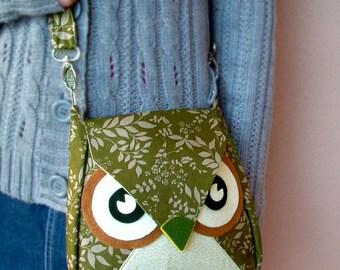 Leafly: the Green Leaf Flip Owl Bag, messenger bag, tote, animal, women, kid bag, children bag, fabric bag, girl bag, boy bag, iammie, cute