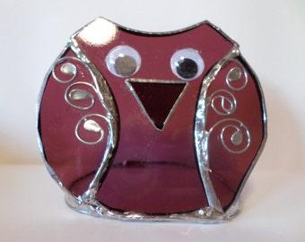 Stained glass owl ornamemt, tea light holder, dark pink, gift idea.