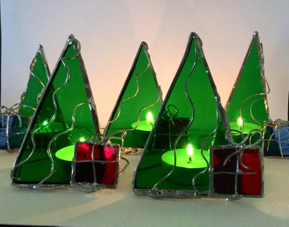 Stained Glass Christmas Trees Tea Light Decoration Gift Etsy