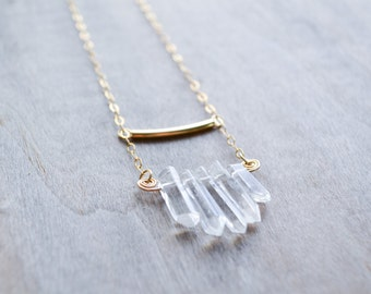 Raw Quartz Necklace | Luster Stone, Raw Quartz Necklace, Crystal Necklace, Stone Necklace, Long Necklace, Andrea