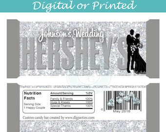Silver and White Wedding Hershey's Wrapper - digital - you print