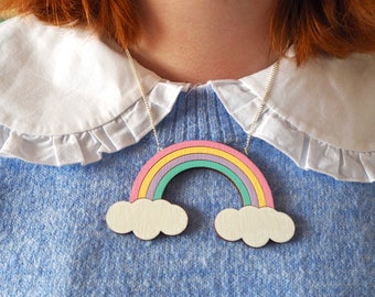 Hand-Painted Wooden Rainbow Necklace