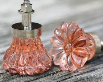 Pink Glass Drawer Knob Drawer Pull Pink Drawer Pull Replacement Furniture Knob Pink Glass Pull Pink Drawer Knob Crystal Pink Drawer Handle